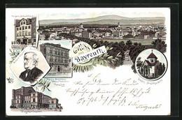 Lithographie Bayreuth, Totalansicht, Portrait Komponist R. Wagner, Wagnertheater, Liszt`s Grabkapelle - Theater