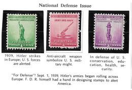 USA=1940  National Defense Issue  Scot#899-900-901 - Ongebruikt