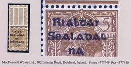 """Ireland 1922 Dollard Rialtas Black Ovpt 5d Brown Var """"Rialtai For Rialtas"""" Top Marginal Mint Hinged - Unused Stamps"""