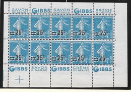 France 1926 - N° YT 217 Neuf ** - Feuille De 10 Timbres,  Publicité Gibbs - Cote Estime  30 € - Cote Estimée 100 € - Ongebruikt