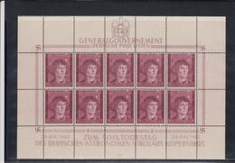GG Generalgouvernement MiNr. 104 **, Kleinbogen I/1, Leerfelder - Occupation 1938-45