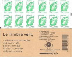 "CARNET 604-C 1a Marianne De Beaujard ""LE TIMBRE VERT"" Avec Carré Noir à Gauche Sur N° 100. Bas Prix,        A SAISIR - Standaardgebruik"