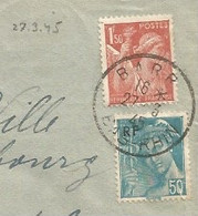 701 - BARR - Mars 1945 - Période Restriction Du Courrier - Enveloppe CCP De Mai 1944 Réutilisée - - Elsass-Lothringen