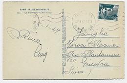GANDON 2FR  SEUL CARTE 5 MOTS PARIS 65 27.1.1947 POUR SUISSE AU TARIF - 1945-54 Marianne Of Gandon