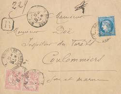 TIMBRES N° 60/1;  LETTRE  ; GRANDE CASSURE ;145 / 8 ème état ; AFFR: TARDIF ; +PAIRE N° 125; EN R. ;TB - 1871-1875 Cérès
