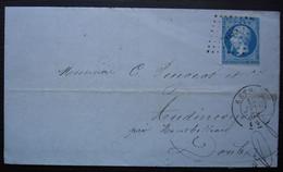 Rethel 1859 (Ardennes) Pc 2655 Sur N°14 Bruneaux Fils Aîné, Mécanicien, Lettre Pour Audincourt - 1849-1876: Periodo Classico