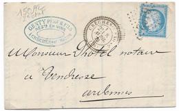 TIMBRES N° 60/1;  LETTRE  ; GRANDE CASSURE ;150 / 2ème état ; CACHET PERLÉ ; GC 6162. TRÈS RARE ;TB - 1871-1875 Cérès
