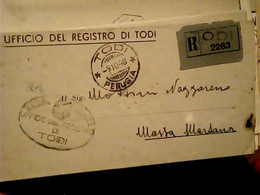 PIEGO RACCOMANDATA FRANCHIGIA  UFFICIO REGISTRO DI TODI X MASSA MARTANA 1948  HU1780 - Marcophilie