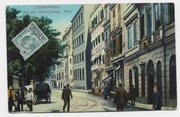 ITALIA 5C CONSTANTINOPOLI AU RECTO CARTOLINA TURKEY PERA RUE DES PETITS CHAMPS 1913 - Europese En Aziatische Kantoren