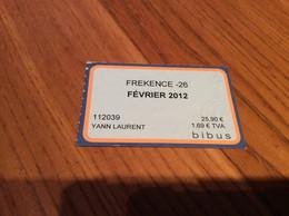 "Ticket De Bus Mensuel BIBUS ""FREKENCE -26 / FEVRIER 2012"" BREST(29) - Europa"
