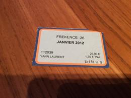 """Ticket De Bus Mensuel BIBUS """"FREKENCE -26 / JANVIER 2012"""" BREST(29) - Europa"""