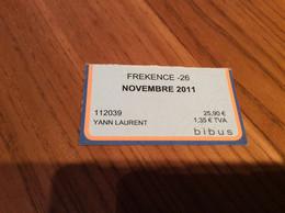 "Ticket De Bus Mensuel BIBUS ""FREKENCE -26 / NOVEMBRE 2011"" BREST(29) - Europa"