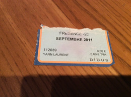 "Ticket De Bus Mensuel BIBUS ""FREKENCE -26 / SEPTEMBRE 2011"" BREST(29) - Europa"
