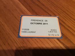 "Ticket De Bus Mensuel BIBUS ""FREKENCE -26 / OCTOBRE 2011"" BREST(29) - Europa"