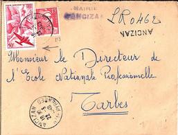 TP N° PA17+813 SUR LETTRE REC. PROVISOIRE DE 65/ANCIZAN/22.3.49 - Air Post