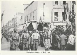 W19-47) AGEN  - LIBERATION D ' AGEN  19 AOUT 1944 - BOULEVARD DE LA REPUBLIQUE DEVANT LE CAFE DE LA BOURSE - ( 2 SCANS ) - Agen