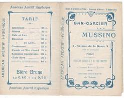 1912  Bar-Glacier MUSSINO à  NICE Avec PUB Et Horaires Des Trains P.L.M. Fermé: 9,50/14cm RARE Dans Cet état - Zonder Classificatie