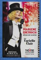 CPM MARLENE DIETRICH Interpretée Par Cyrielle Claire Théâtre De La Tour Eiffel Sous L'egide De Pierre Cardin - Famous Ladies