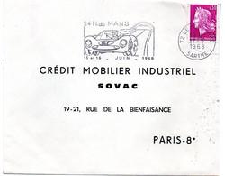 COURSE AUTOMOBILE = 72 LE MANS GARE 1968 = FLAMME RRR = SECAP Illustrée ' 24 HEURES  ' - Maschinenstempel (Werbestempel)