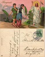 Grußkarte Ostern (Easter) Auferstehung Jesus Christus 1912 Goldrand/Prägekarte - Pascua