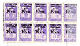 Espagne/Barcelone Timbre Télégraphe Edifil N° 17 En Bloc De 10 Neufs ** MNH. TB. A Saisir! - Barcelona