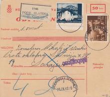 Croatia WWII NDH 1942 Parcel Card  Podravska Slatina To Sarajevo, Mixed Franking, Certficate - Croatia