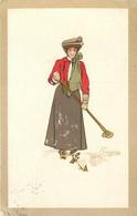 PELLEGRINI (illustrateur) - Femme Faisant Du Ski. - Andere Illustrators