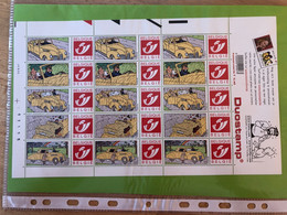 14-11-2001 DOSTAMP TINTIN Feuille De 15 Timbres Personnalisés Hergé Moulinsart Voiture Jaune/pluie/Haddock/Tintin - Unused Stamps