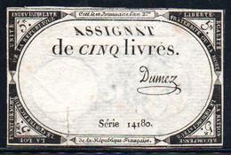 538-Assignat De 5 Livres De L'An 2 Dumez - Assegnati