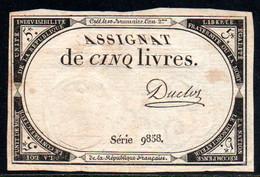 538-Assignat De 5 Livres De L'An 2 Duclos - Assegnati