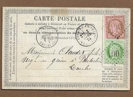 BEAUREPAIRE EN BRESSE : 1875 : GC 400 + CàD Type 16 : ( Saône Et Loire ) - 1849-1876: Periodo Clásico