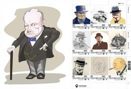 Ukraine 2020, England Politician Winston Churchill, Art, Sheetlet Of 9v - Oekraïne
