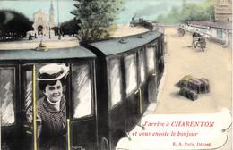 Thematiques 94 Val De Marne Charenton J'arrive à Charenton Et Vous Envoie Le Bonjour Femme Train Daté Main 1908 - Charenton Le Pont