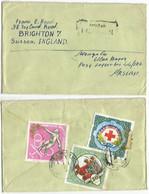 Real Mail From Mongolia AirmailCV Ulan Baatar 1969 X UK - 3 Stamps Red Cross,  Archery,  Shot Put - Boogschieten
