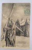 CPA SARTENE - 1906 PROCESSION NOCTURNE DU VENDREDI SAINT ET PENITENT - CACHET TETE DE MAURE DRAPEAU CORSE AU VERSO RARE - Sartene