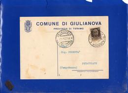 ##(DAN212)-ITALIA 1936- Cartolina  Comune Di Giulianova Per Petacciato (Campobasso) - Marcophilie