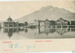 Luzern 1903; Bahnhof Und Pilatus -  Nicht Gelaufen. (A.E.Z.) - LU Lucerne