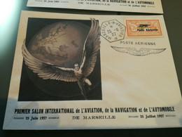 Enveloppe Avec Faux PA N° 1  Au 1er Salon International De L'Aviation, Navigation, Auto à MARSEILLE 1927 - 1927-1959 Lettres & Documents