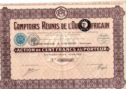 Action De 100 Frcs Au Porteur - Comptoirs Réunis De L'Ouest Africain - Cotonou - Dahomey - Paris 1929. - Afrique