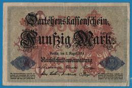 DEUTSCHES REICH 50 Mark 05.08.1914 Série R # 2836478 P# 49b DARLEHENSKASSENSCHEIN - 50 Mark