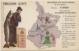 D  65    4 Cartes  Département   Emultion Scott  PUB   Pic Du Midi  Cyclistes Et Attelage Dans Le Tourmalet - Bagneres De Bigorre