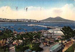 "10984""NAPOLI-MERGELLINA""ANIMATA-TRAMWAY-CHIOSCO E PORTO-VERA FOTO -CART SPED 1955 - Napoli (Naples)"