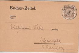 DR - 3 Pfg. Korbdeckel Drucksache/Bücherzettel Erlangen - Scheinfeld 1924 - Covers & Documents