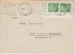 BRD - 10 Pfg. Heuss I Paar/Oberrand/Bogenecke Brief Hamburg - Gera 1954 - Covers