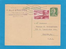 1010-CP1 . ENTIER POSTAL DE ILLKIRCH-GRAFFENSTADEN AVEC AFFRANCHISSEMENT COMPLEMENTAIRE POUR YEADON,PA. U.S.A. - Standard Postcards & Stamped On Demand (before 1995)