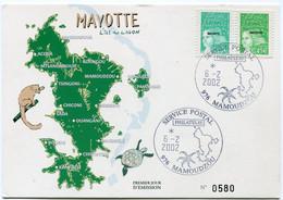 MAYOTTE CARTE POSTALE N°0580 DEPART SERVICE POSTAL PHILATELIE 6-2-2002 MAMOUDZOU POUR LA FRANCE - Briefe U. Dokumente