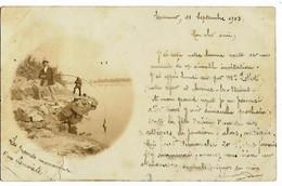 Photo-carte SAUMUR (49) Pêcheurs à La Ligne (dos Simple, 1903) Déchirure Bas Sous Lea Photo 1,5cm - Saumur