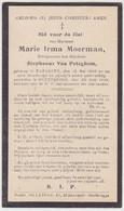 Doodsprentje Marie Irma Moerman. °Nazareth, +Gentbrugge. Echtgen. Van Peteghem. - Overlijden