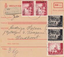 Croatia WWII NDH 1943 Parcel Card Retkovci - Windhorst (Nova Topola) Include Delivery Receipt,  Mixed Franking, - Croatia