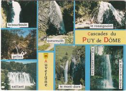 F1320 AUVERGNE - 7 VUES DE CASCADES DU PUY DE DOME - QUEUREUILH / BOURBOULE / GELLES / SAILLANT / MONT DORE... - Auvergne Types D'Auvergne